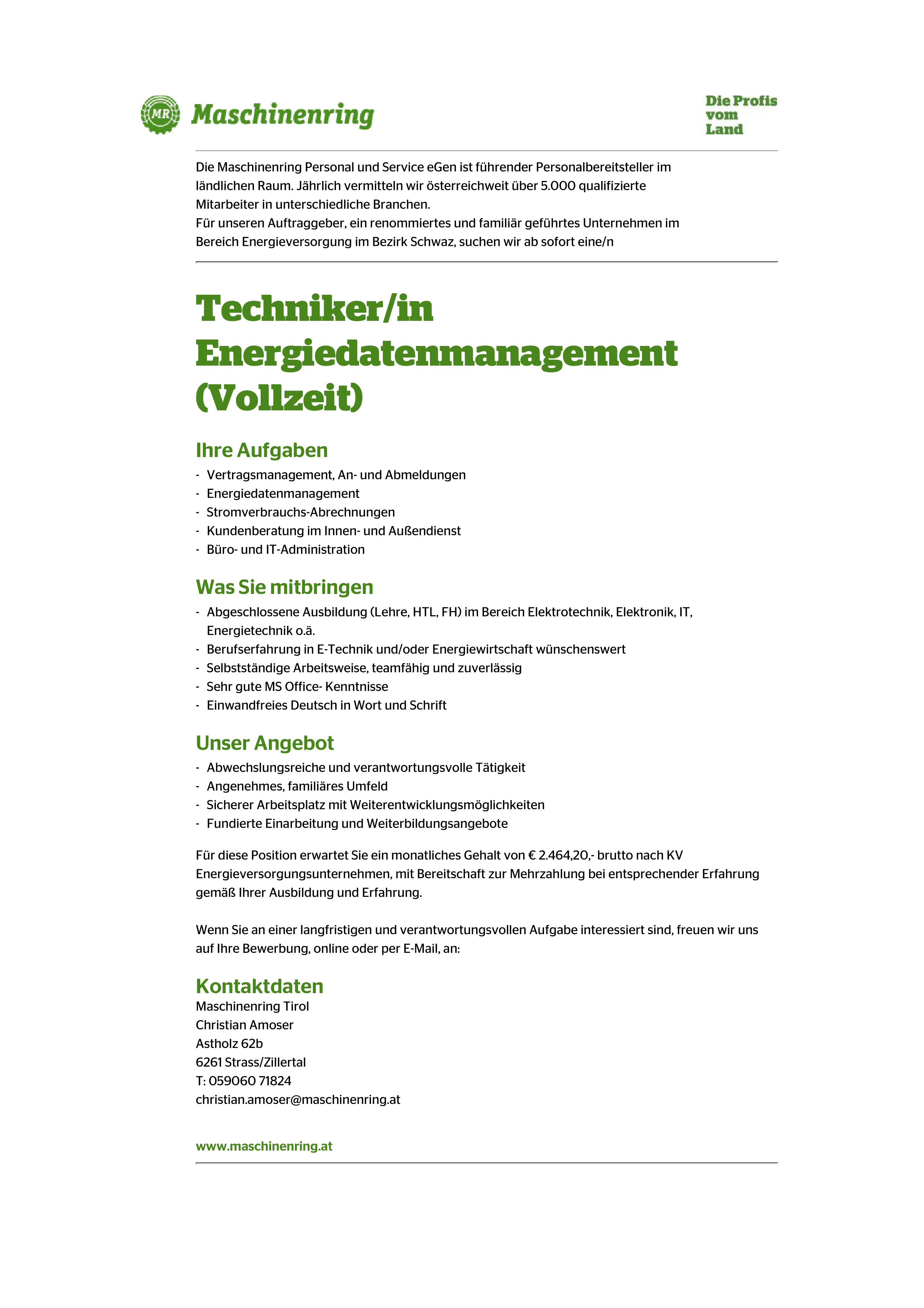 Techniker/in Energiedatenmanagement