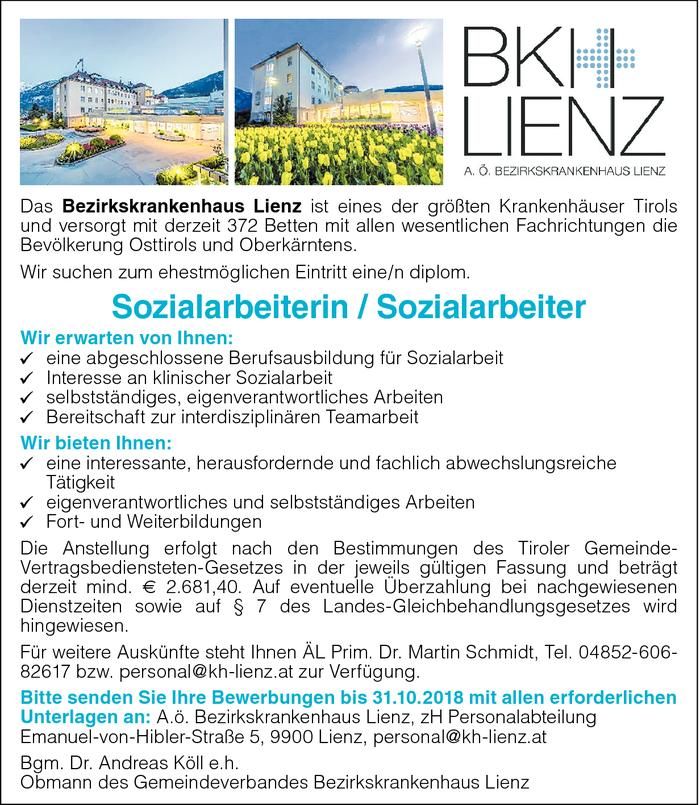 Sozialarbeiterin / Sozialarbeiter im Bezirk Lienz - Bewirb dich auf ...