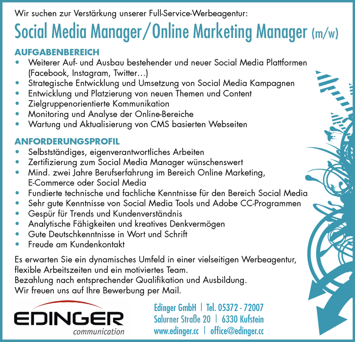 Social Media Manager / Online Marketing Manager (m/w)