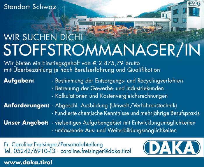 STOFFSTROMMANAGER/IN