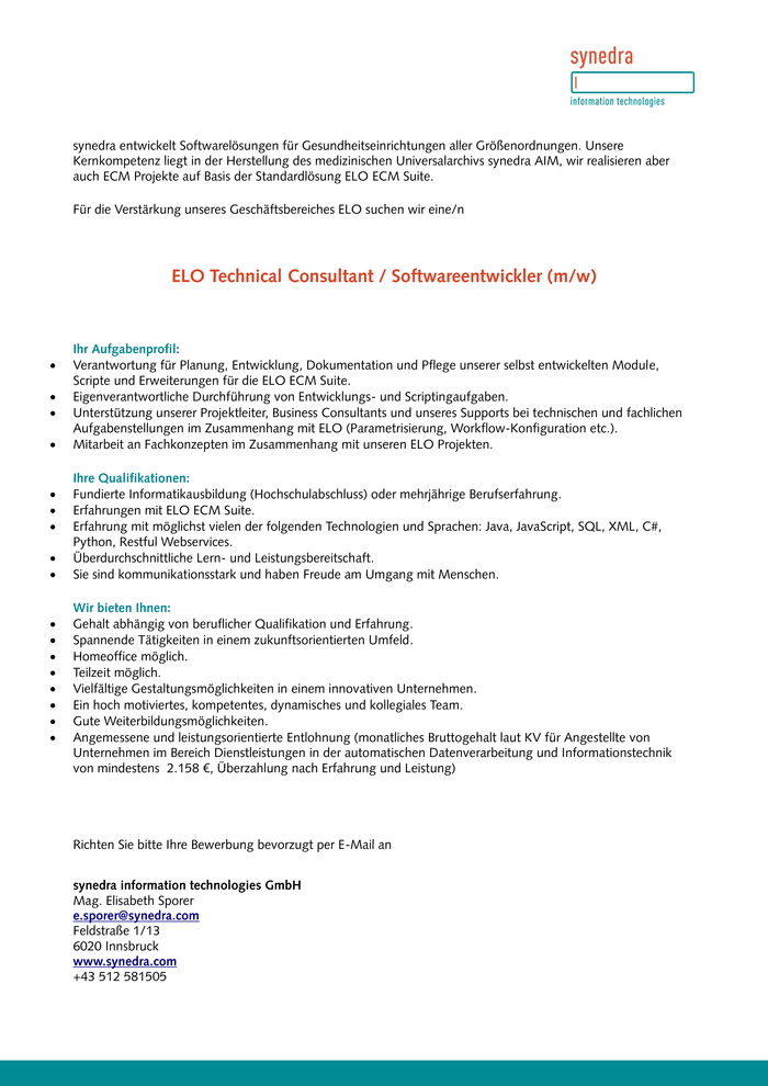 ELO Technical Consultant / Softwareentwickler (m/w)