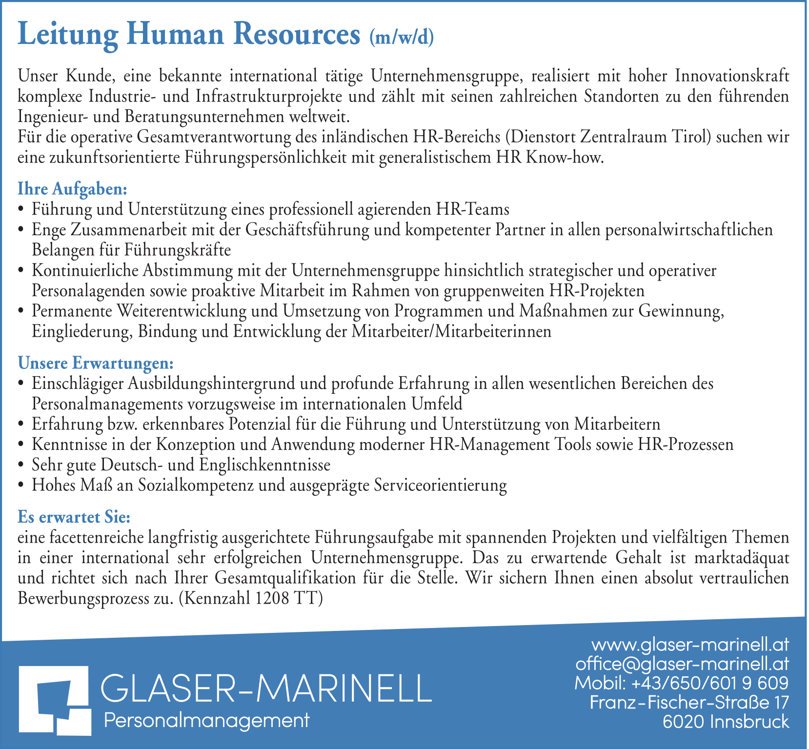 Leitung Human Resources (m/w/d)