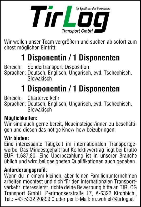 Disponent (m/w) Sondertransport-Disposition und Disponent (m/w) Charterverkehr