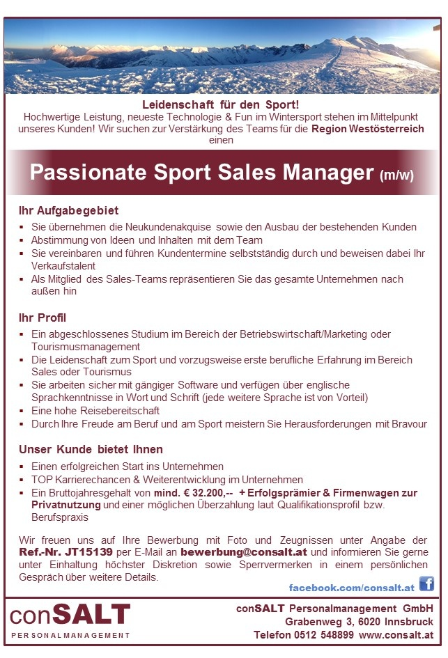 Passionate Sport Sales Manager (m/w)