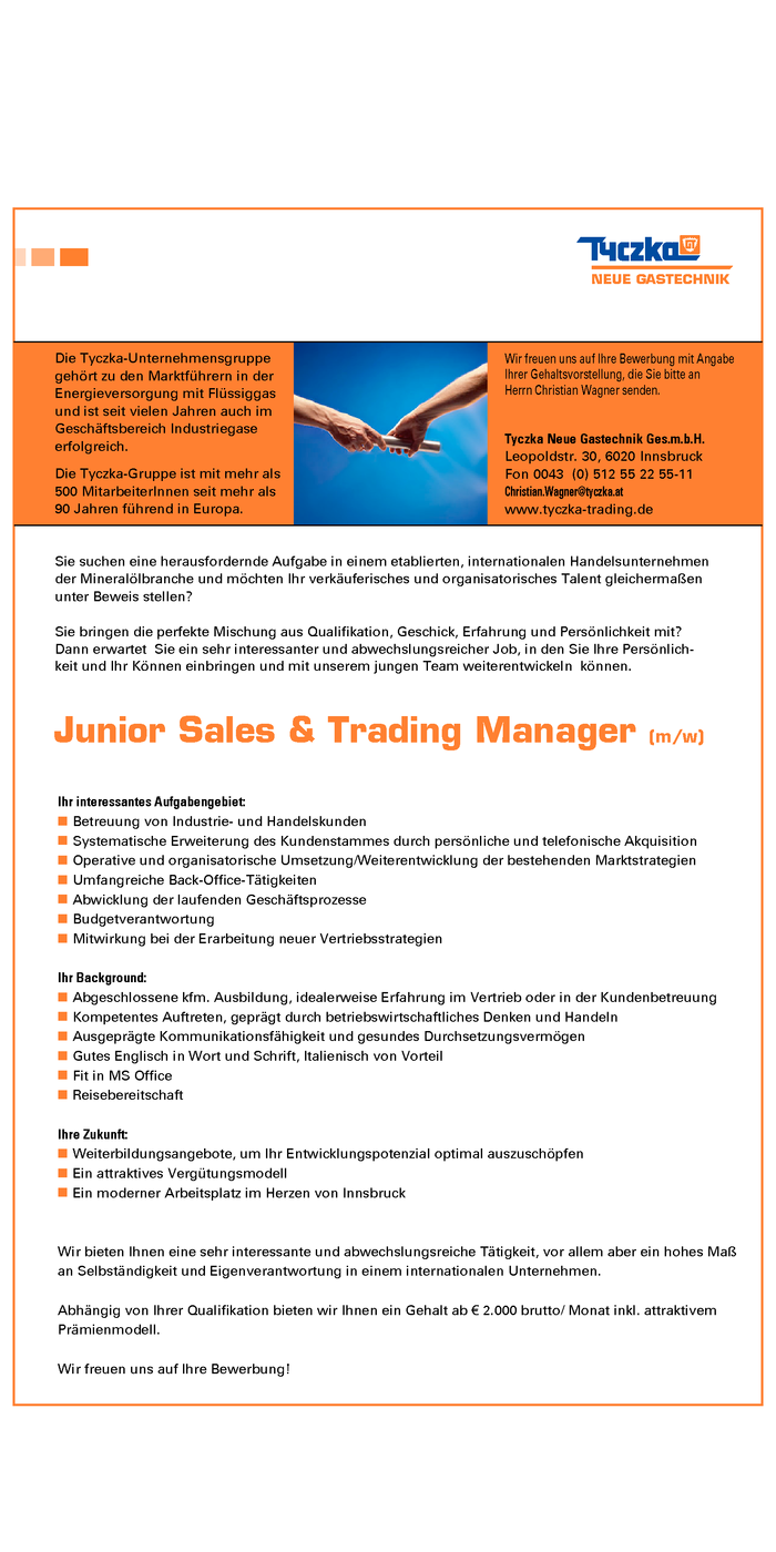 Junior Sales & Trading Manager (m/w)