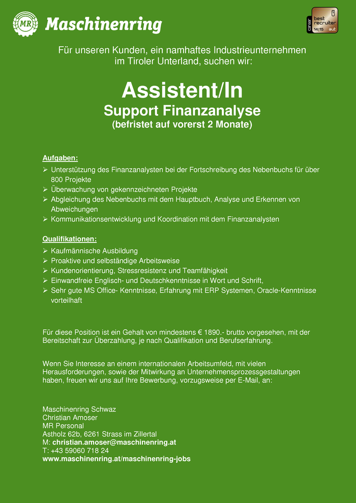 Assistent/In  Support Finanzanalyse