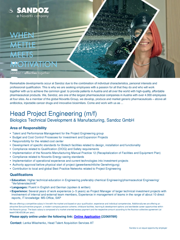 Head Project Engineering (m/f)