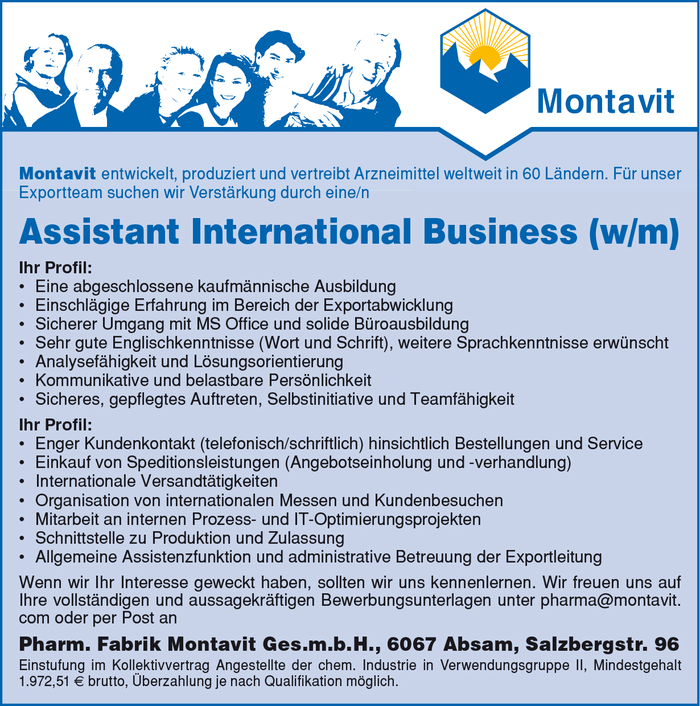 Assistant International Business (w/m)
