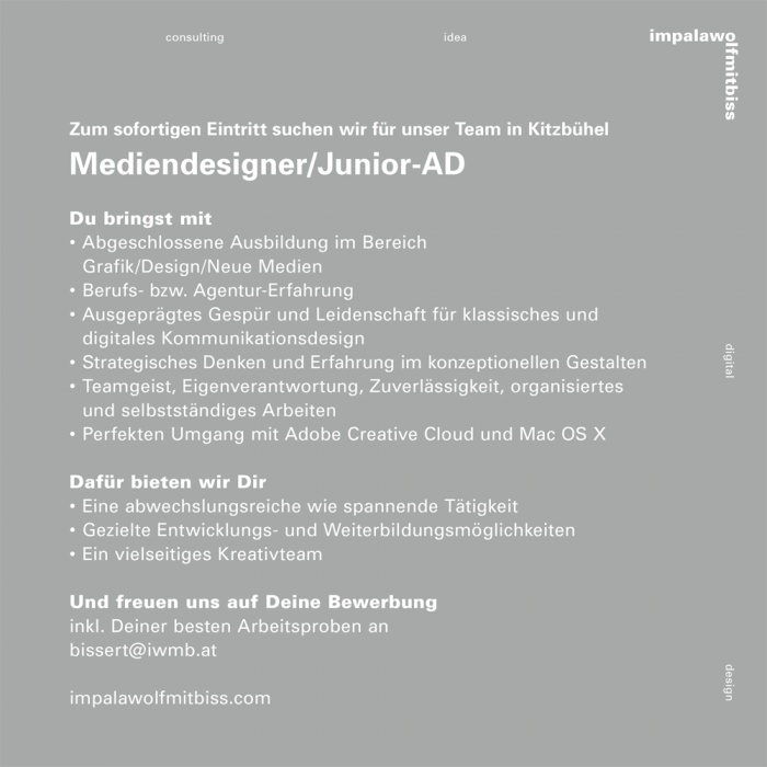 Mediendesigner/Junior AD (m/w)