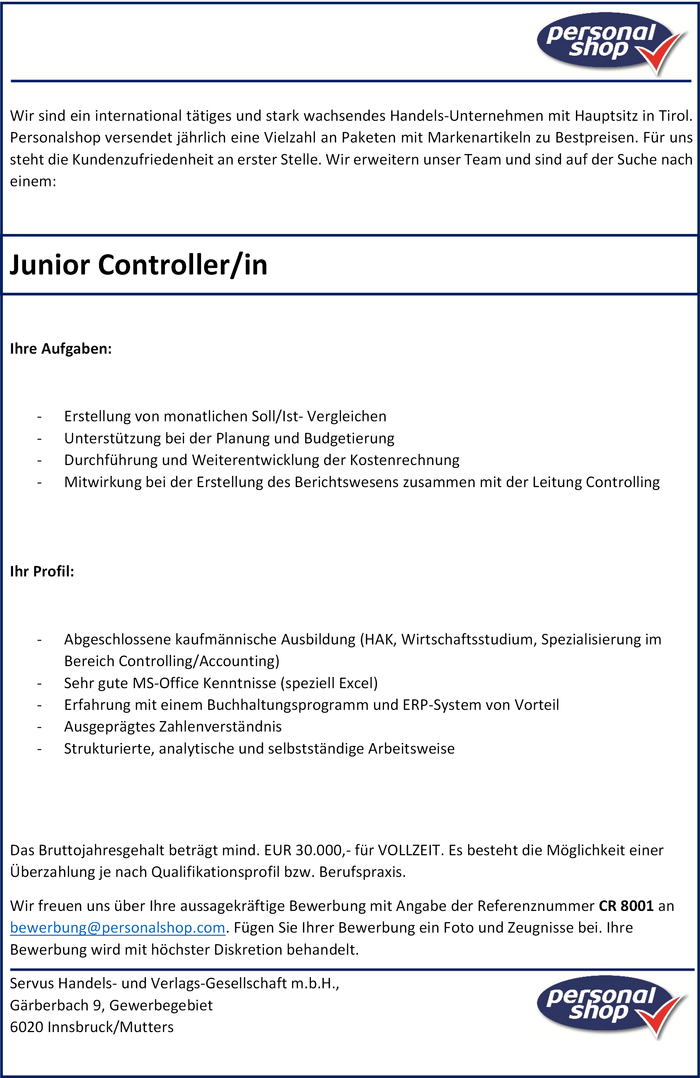 Junior Controller/in