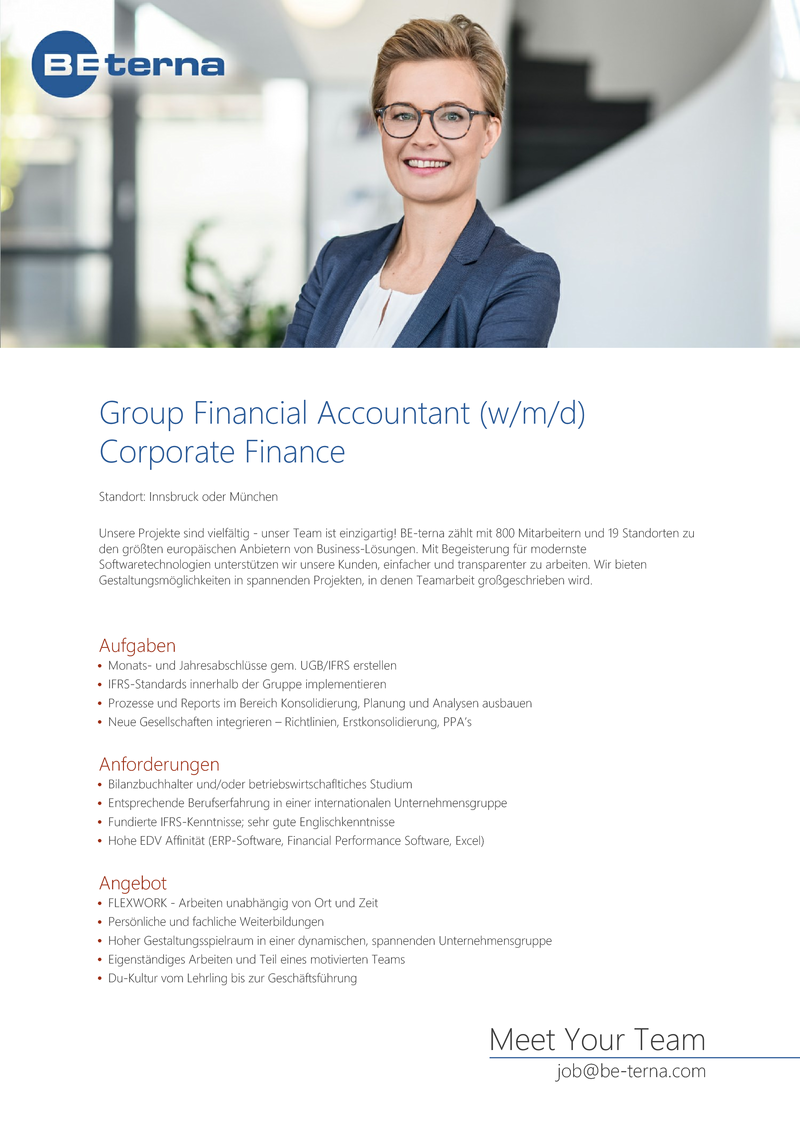Group Financial Accountant (w/m/d), Corporate Finance