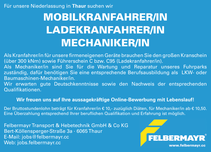 Felbermayr Transport & Hebetechnik GmbH & Co KG sucht...
