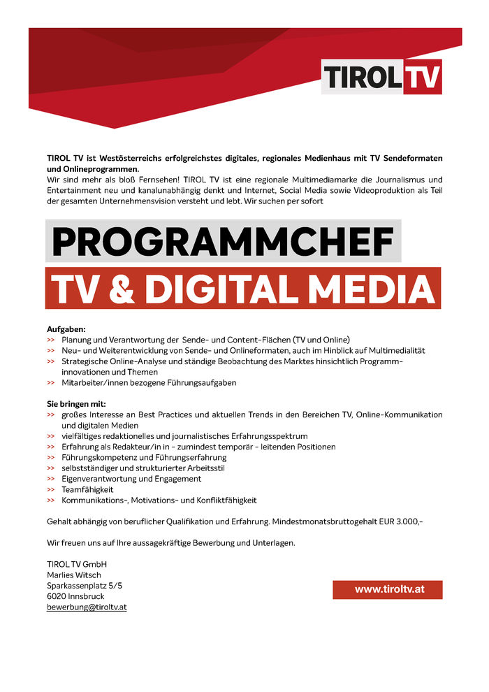 Programmchef TV & Digital Media