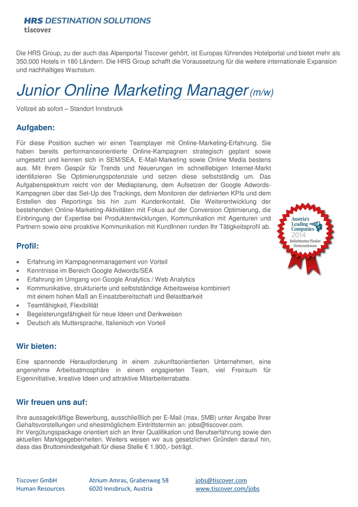 Junior Online Marketing Manager (m/w)