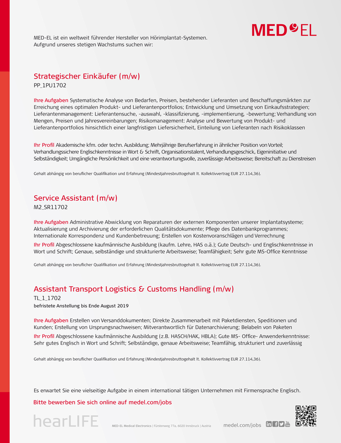 Strategischer Einkäufer (m/w) & Service Assistant (m/w) & Assistant Transport Logistics & Customs Handling (m/w)
