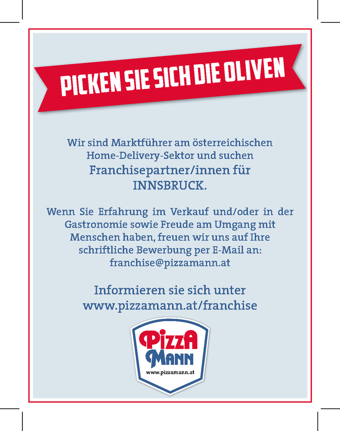 Franchise Partner Pizza Mann Innsbruck