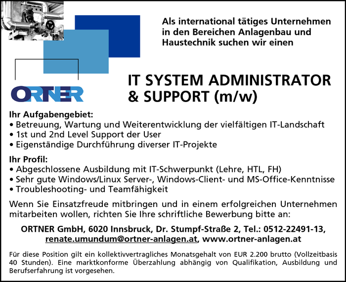 IT System Administrator & Support (m/w)