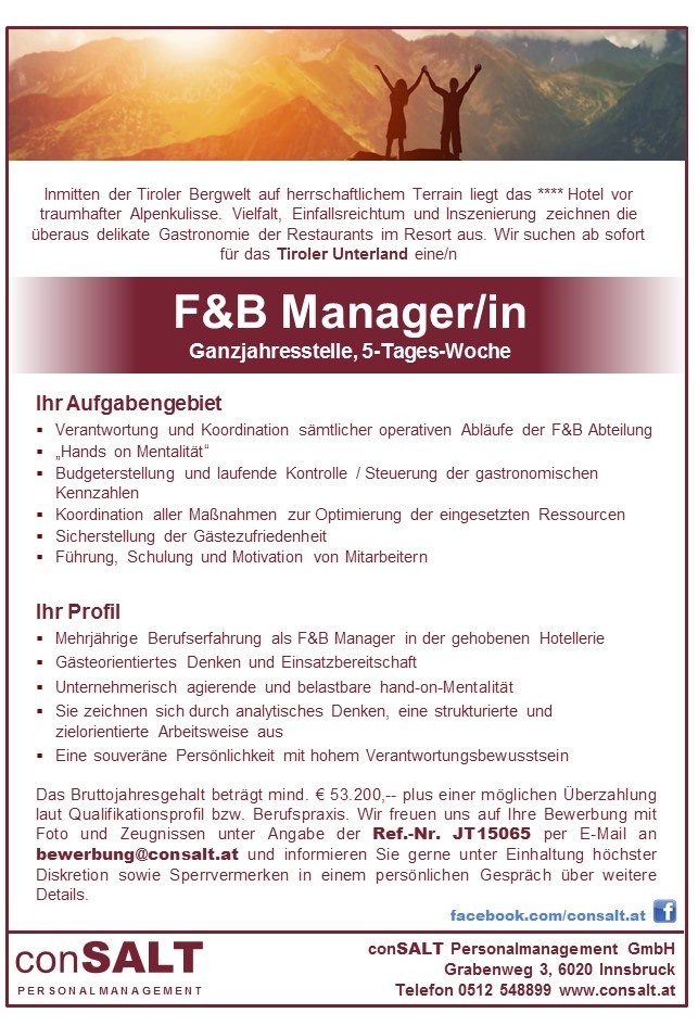 F&B Manager/in