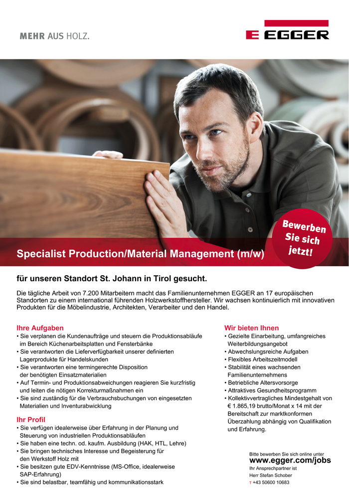 Specialist Production / Material Management (m/w)