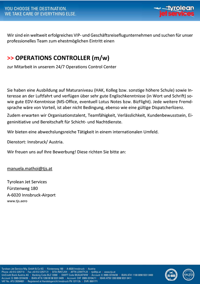 Operations Controller (m/w)