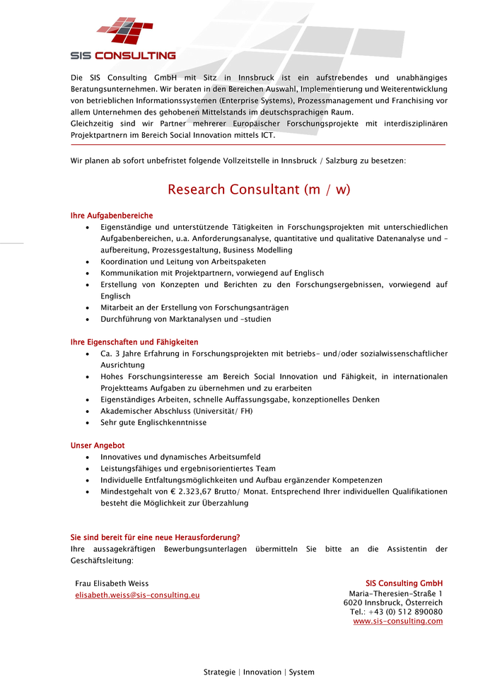 Research Consultant (m / w)