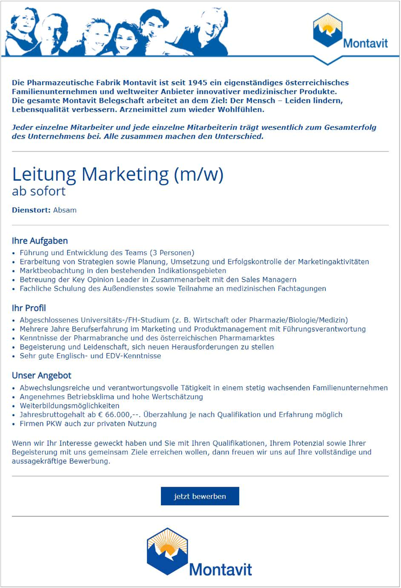 Leitung Marketing (m/w)