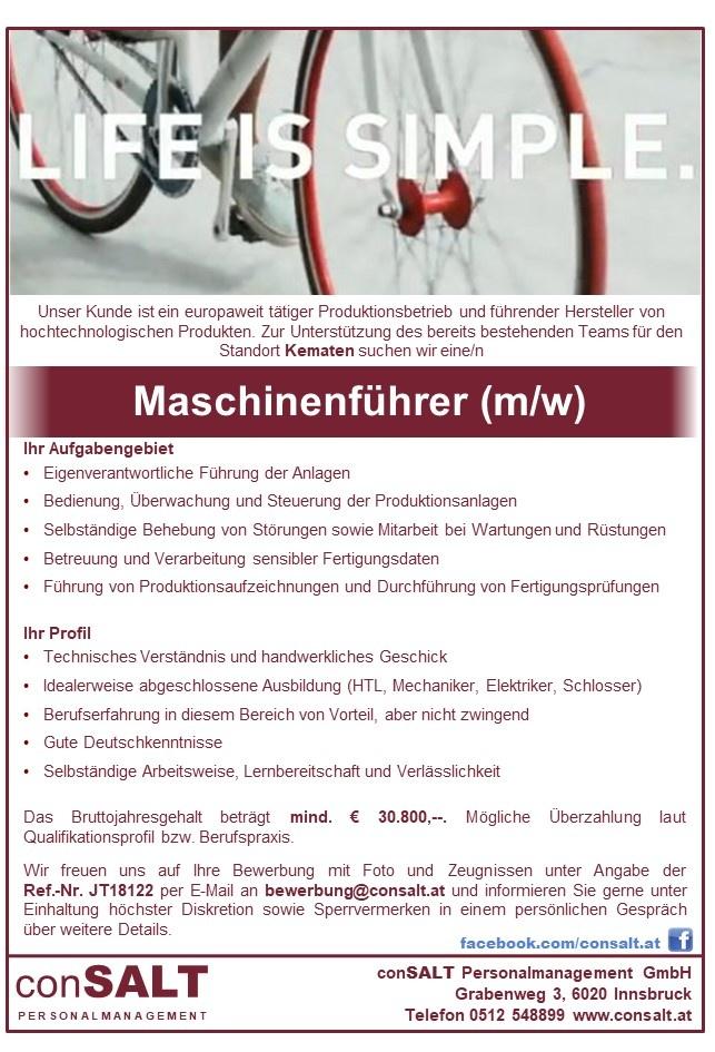kandidat - Bewerbung Als Maschinenfhrer