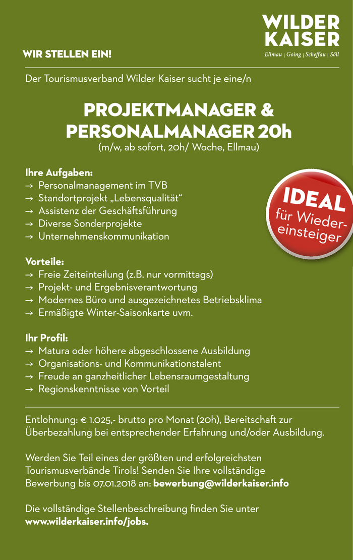 Projektmanager & Personalmanager 20h (m/w, ab sofort, 20h/ Woche, Ellmau)