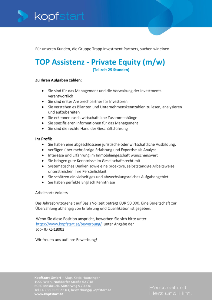 TOP Assistenz - Private Equity