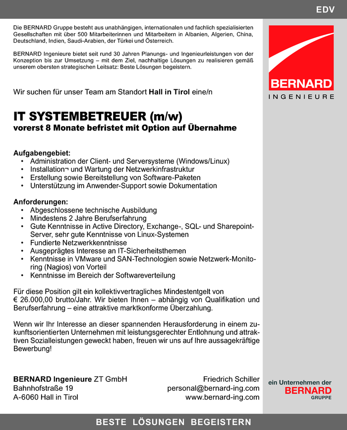 IT Systembetreuer (m/w)