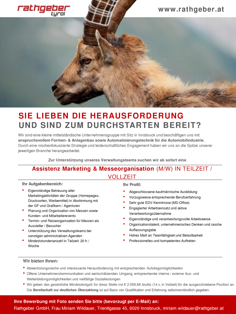 ASSISTENZ MARKETING & MESSEORGANISATION (m/w)