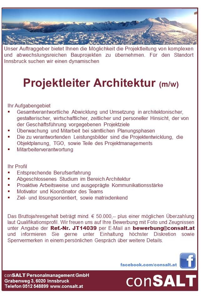 Projektleiter/in Architektur