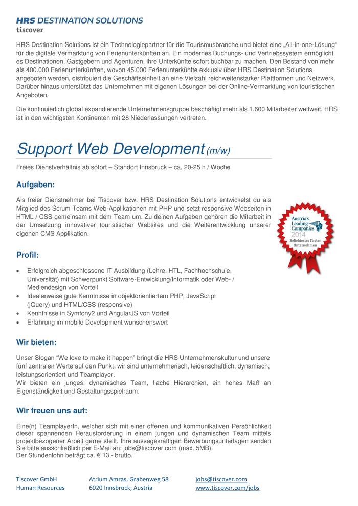 Support Web Development (m/w)