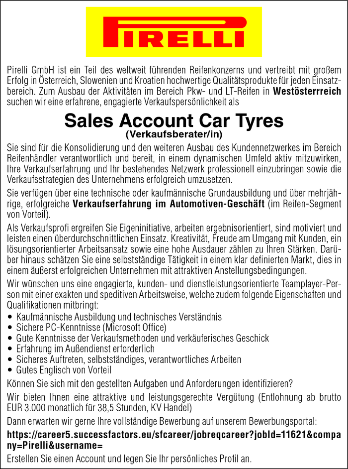 Sales Account Car Tyres (Verkaufsberater/in)
