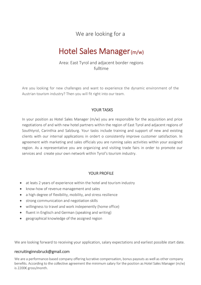 Hotel Sales Manager (m/w)