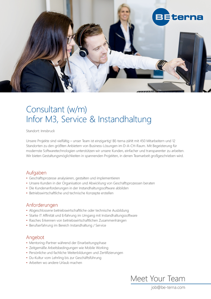 Consultant (w/m/d), Infor M3, Service & Instandhaltung