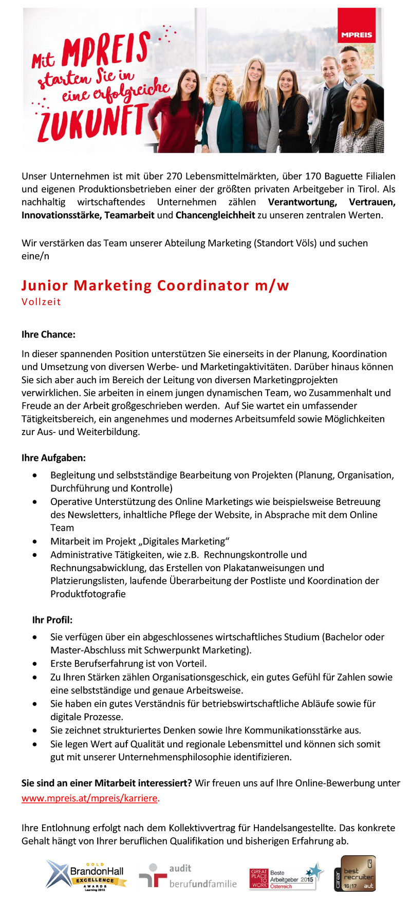 Junior Marketing Coordinator m/w