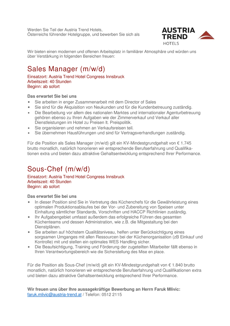 Sales Manager (m/w/d) & Sous-Chef (m/w/d)