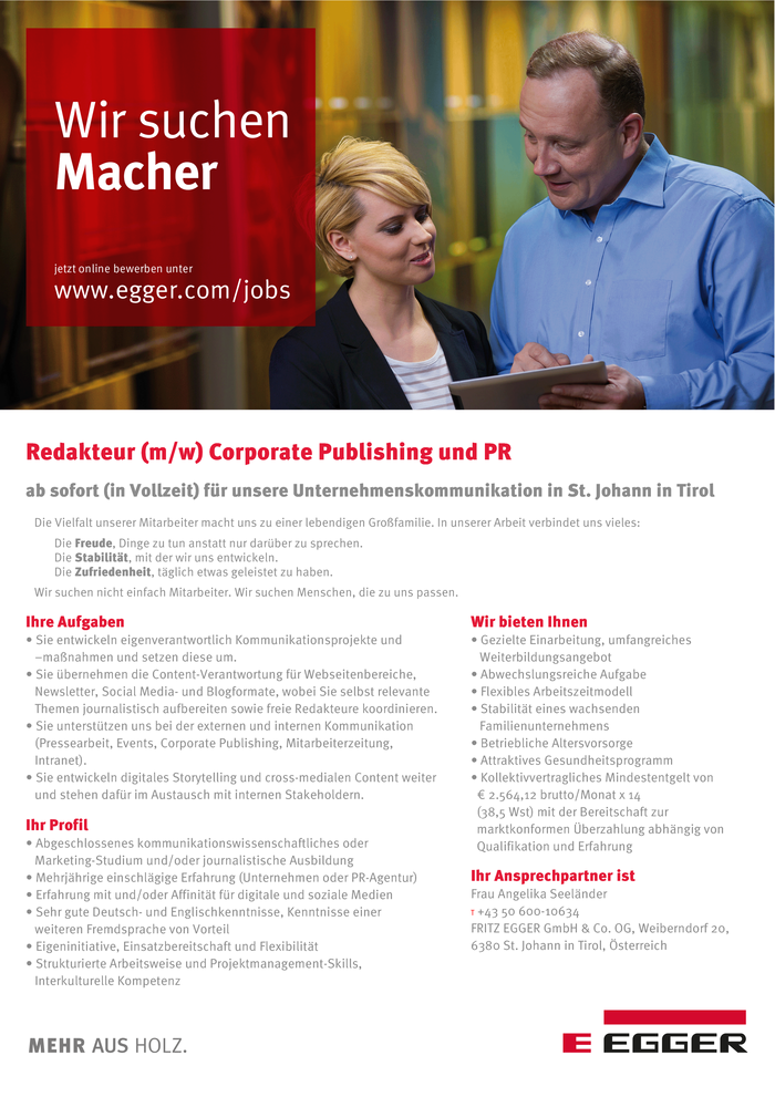 Redakteur (m/w) Corporate Publishing und PR