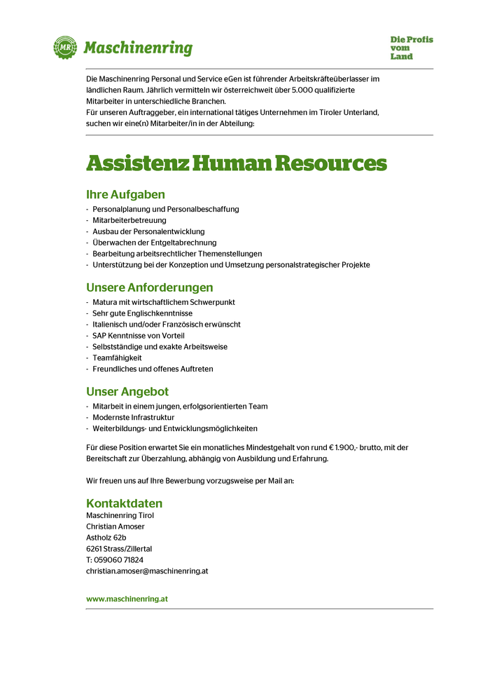 Mitarbeiter/in Assistenz Human Resources