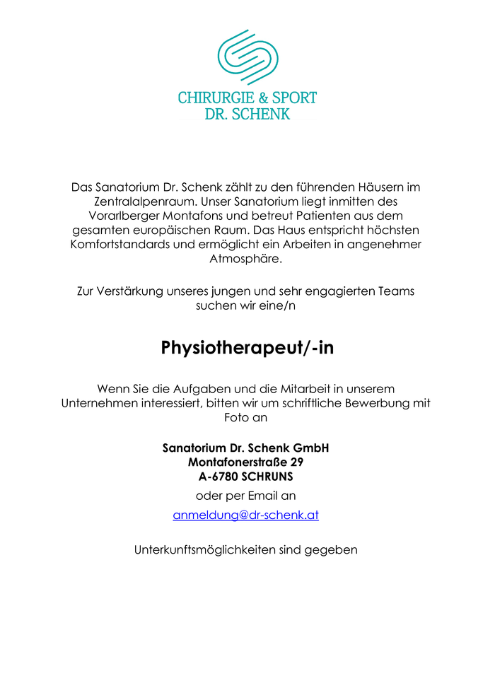 Physiotherapeut/-in
