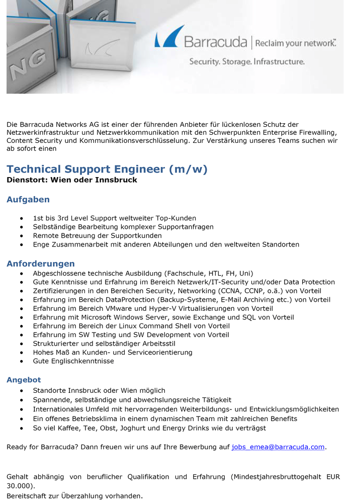 Technical Support Engineer (m/w)