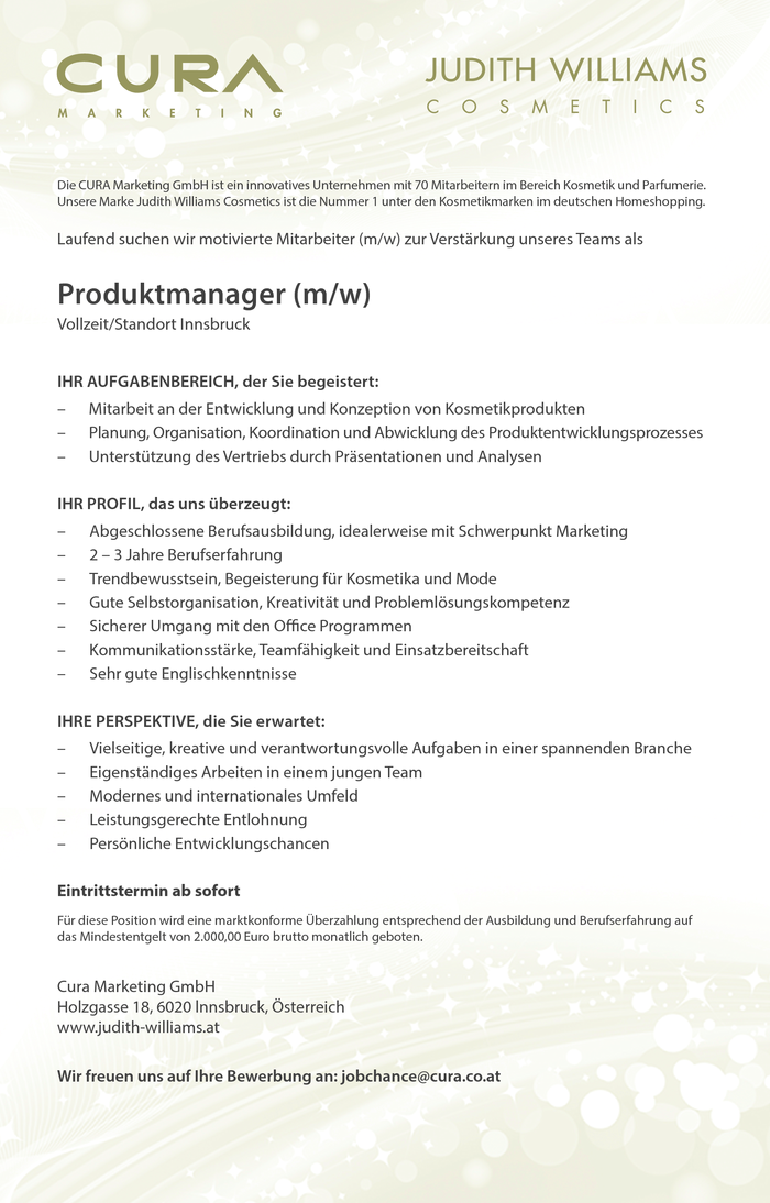 Leitung Produktmanagement Marketing Kosmetik