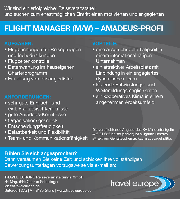 Flight Manager (m/w) - AMADEUS-Profi