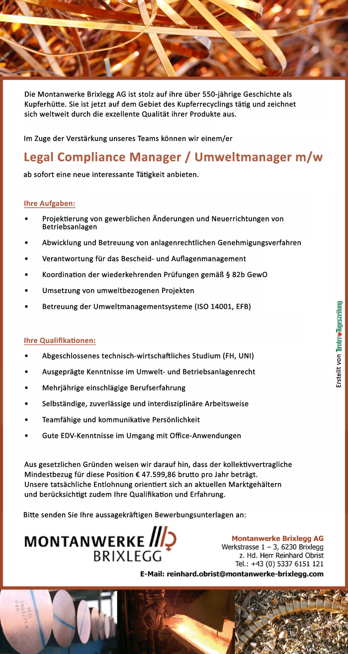 Legal Compliance Manager / Umweltmanager m/w