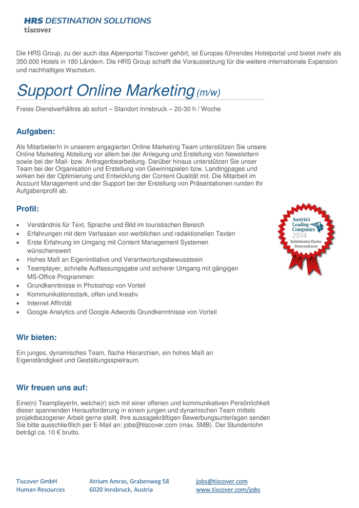Support Online Marketing (m/w) - Freies Dienstverhältnis