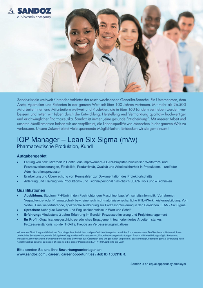 IQP Manager – Lean Six Sigma (m/w)