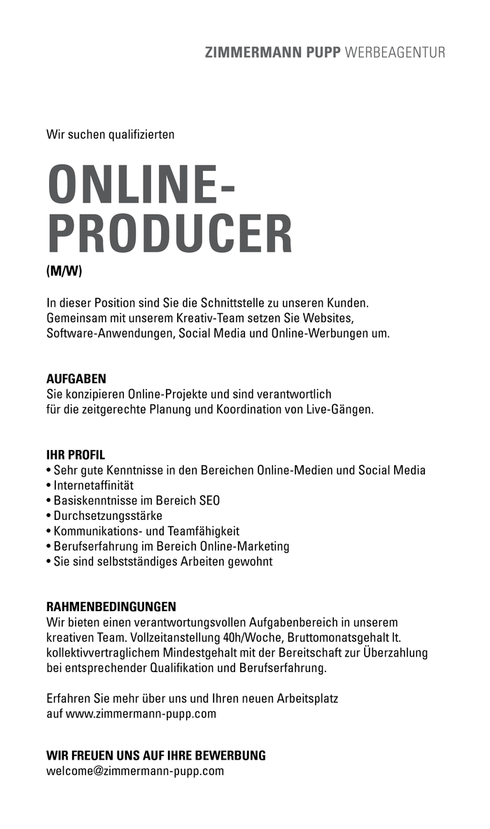 ONLINEPRODUCER (M/W)