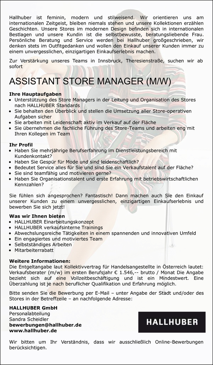 ASSISTANT STORE MANAGER (M/W)