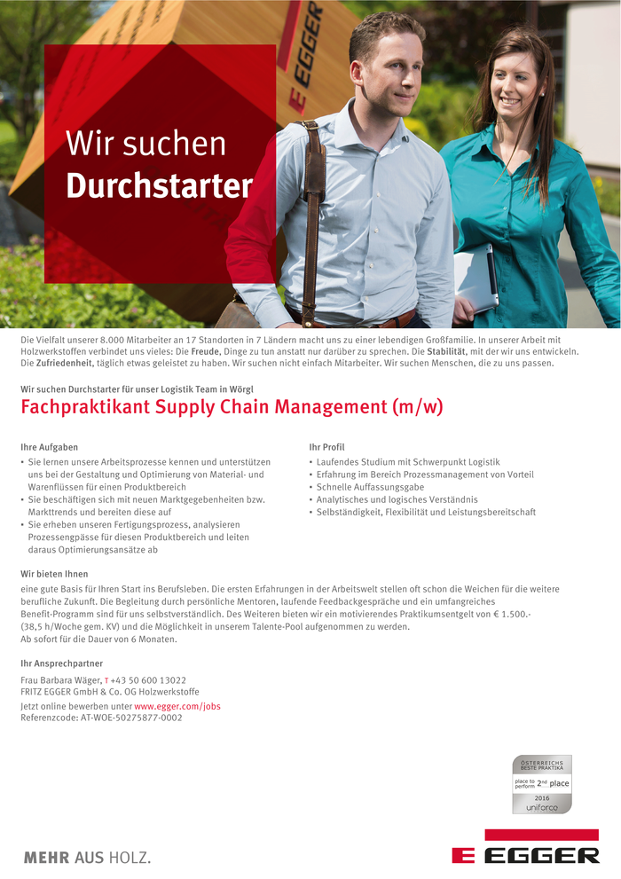 Fachpraktikant Supply Chain Management (m/w)